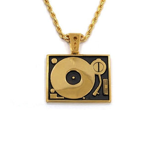 front of the Turntable Pendant in gold from the han cholo music collection
