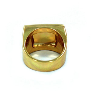 back of the turntable ring in gold from the han cholo music jewelry collection