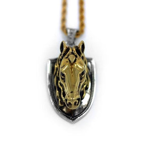 up close view of the Unicorn Head Pendant in 2 tone from the han cholo fantasy collection