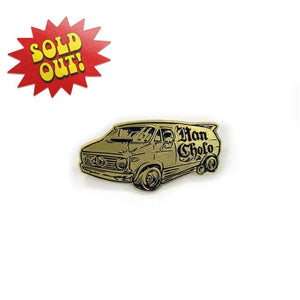 front of the Van Damn Enamel Pin in gold from the han cholo cruising collection