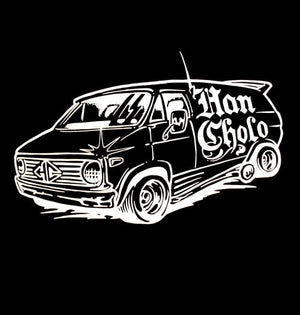 up close detail of the Van-Damn T shirt from the han cholo cruising collection