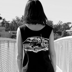 altered version of the Van-Damn T shirt on a girl from the han cholo cruising collection