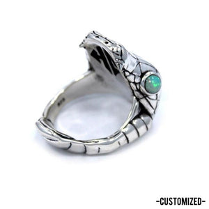 front of the Venom Ring with custom opal eyes from the fantasy collection