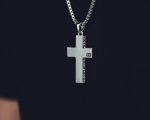 Signature Cross Pendant - Polished Sterling Silver - Lifestyle