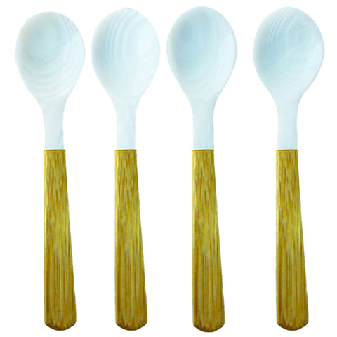 Set of Four Medium Ivory-Colored Seashell Spoons