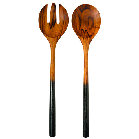 Teak Salad Server Set with Black Handles