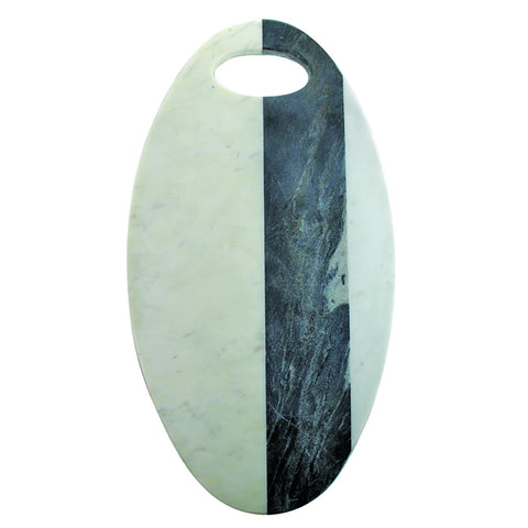 White and Gray Marble Oval Board