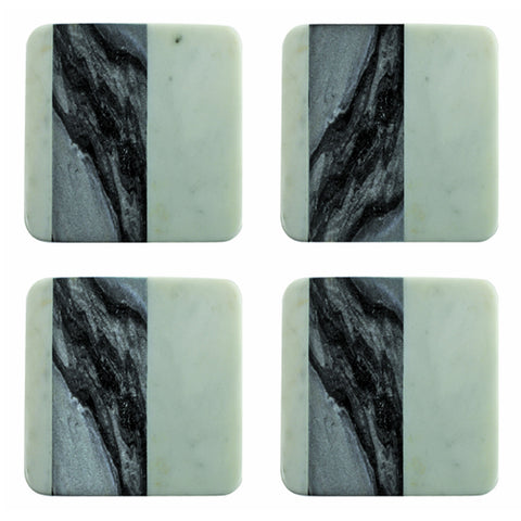 Set of Four White and Gray Square Marble Coasters