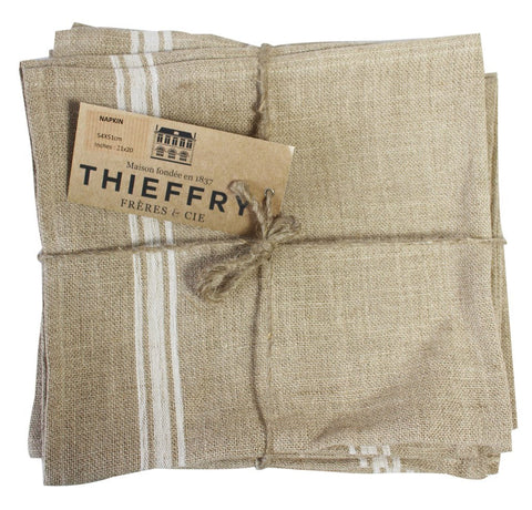 Set of Six Thieffry Monogramme Belgian Linen White Stripe Napkins