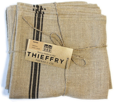 Set of Six Thieffry Monogramme Belgian Linen Back Stripe Napkins