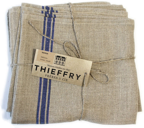Set of Six Thieffry Monogramme Belgian Linen Blue Stripe Napkins