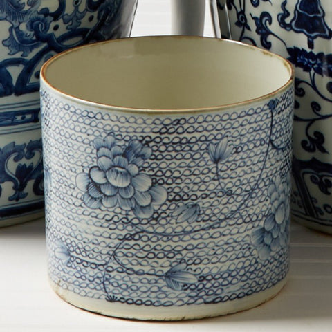 Blue and White Round Planter