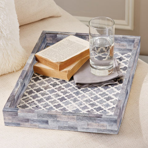 Slate Quatrefoil Large Decorative Tray