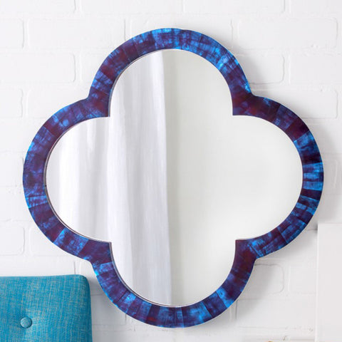 Lapis Blue Bone Quatrefoil Mirror