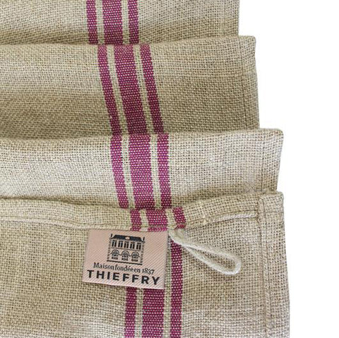Thieffrey Linen Plum Stripe Dish Towel on a Natural Ground