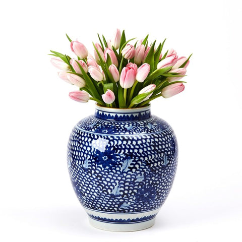 Blue & White Lotus Ginger Vase