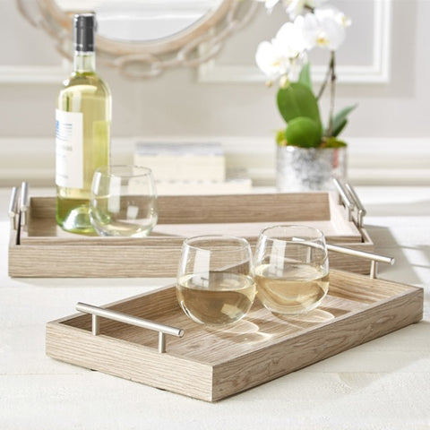 Set of Three Manchester Decorative Trays, Pickled Oak