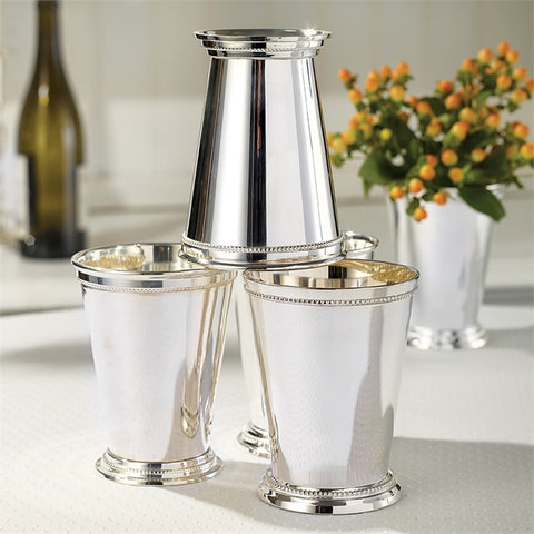 Set of Four Silver Mint Julep Cups in a Gift Box