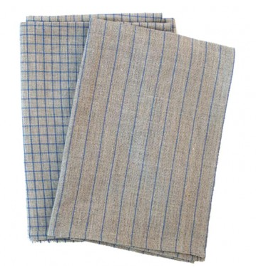 Set Two Linen Towels in Blue Stripe and Blue Check