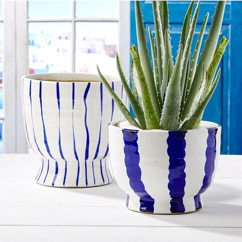 Set of Two Blue & White Planters