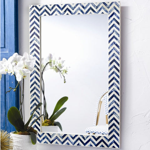 Chevron Bone Mirror in Indigo