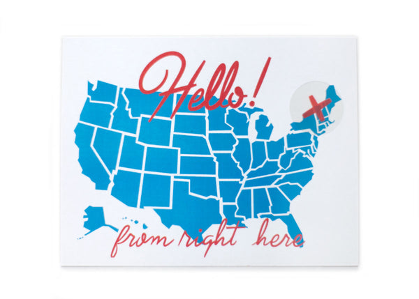 Hello From Here USA Postcard