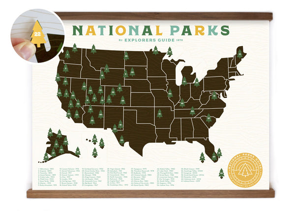 18x24 National Park Offset map with tree stickers