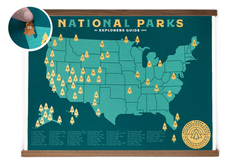 Special Edition 18x24 National Park Map - Gold Screen-print