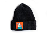 Black Knit Beanie with Sasquatch Peace Label