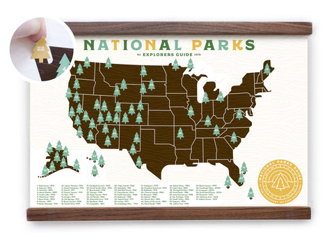 11x17 National Park Map with tree stickers