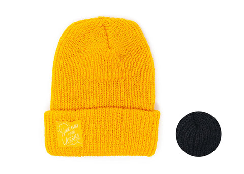 Knit Beanie with Hike Away your Worries Label