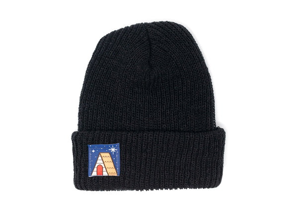 Knit Beanie with Cabin Under the Stars Label