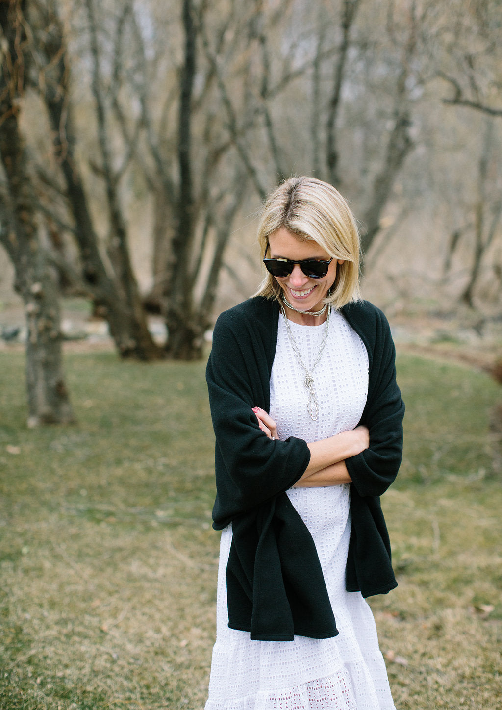 White Eyelet Dress + Bedford Blanket Scarf
