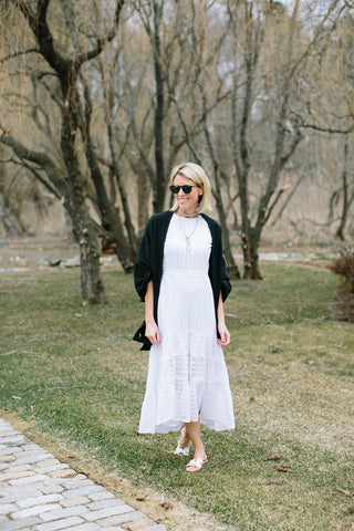 banana republic eyelet midi dress with dudley stephens blanket scarf