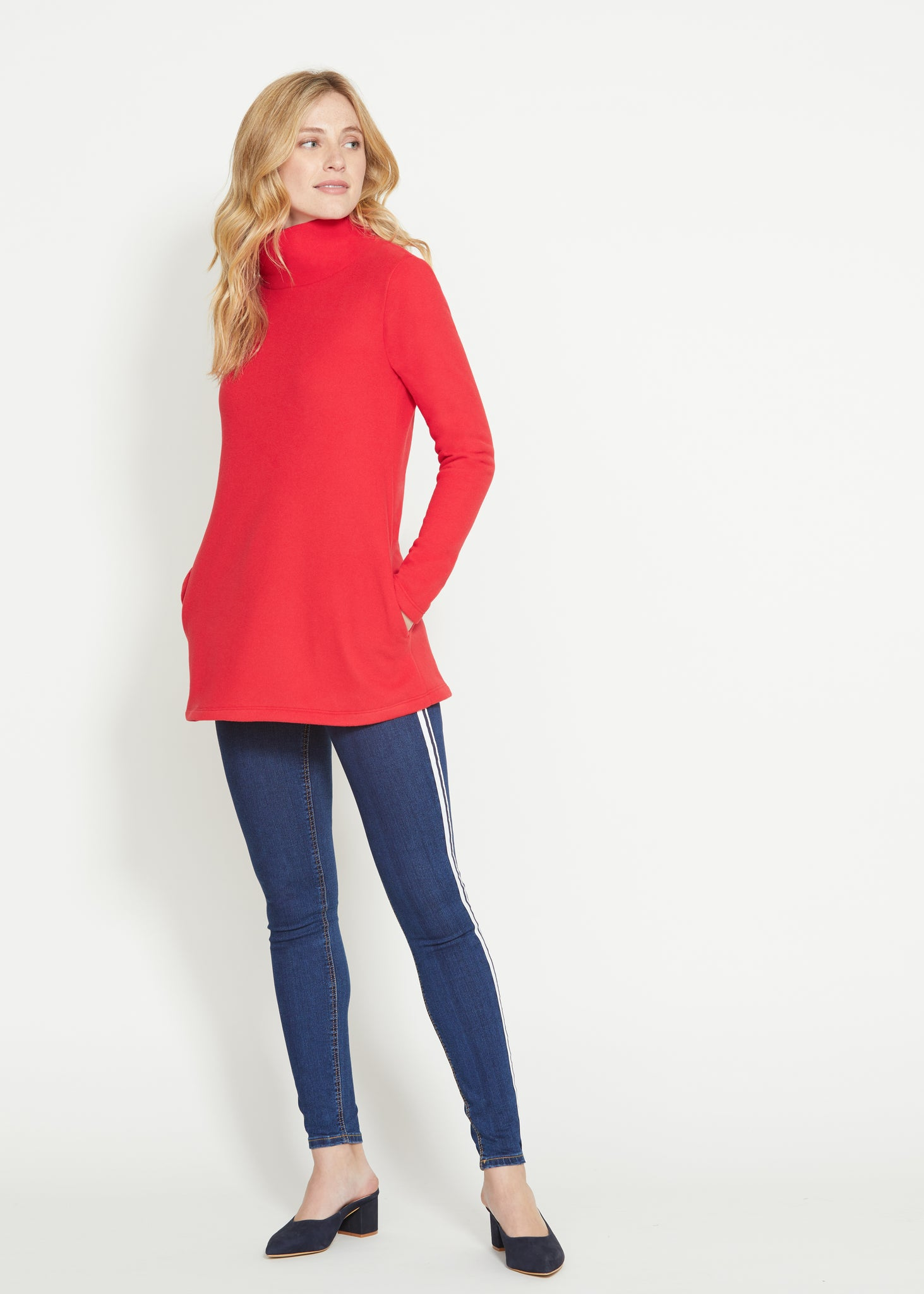 dudley stephens cobble hill turtleneck in red