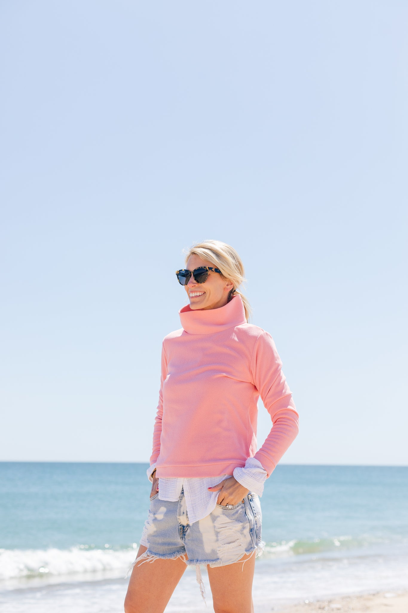 Dudley Stephens fleece island coral nantucket