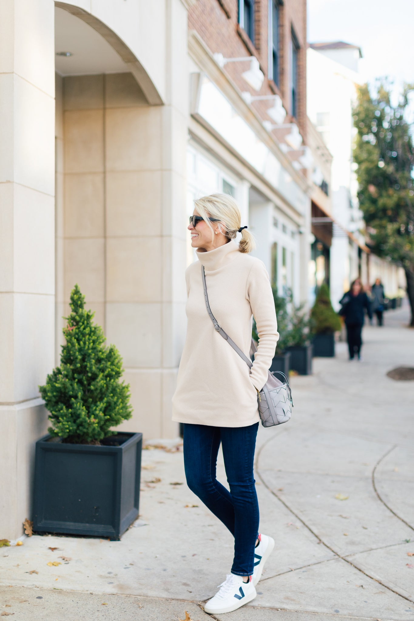 Dudley Stephens fleece cobble hill turtleneck natural blush