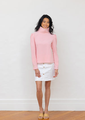 Load image into Gallery viewer, Palmer Puff Sleeve Turtleneck in Terry Fleece (Pink)