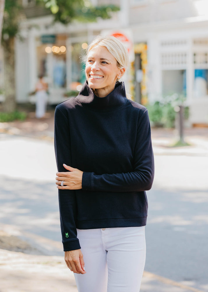 Load image into Gallery viewer, Park Slope Turtleneck in Terry Fleece (Black) - TH