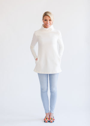 Cobble Hill Turtleneck in Terry Fleece (Off-White) TH