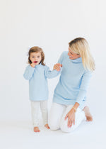 Toddler Turtleneck in Terry Fleece (Ice Blue)