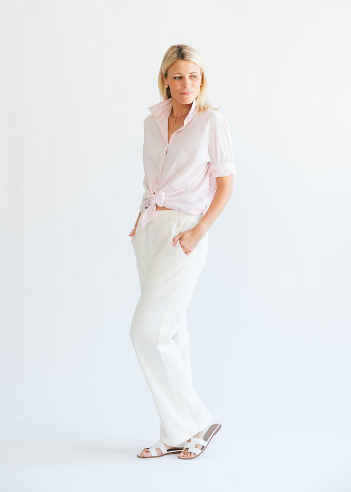 Waverly Wide Leg Pants in Terry Fleece (Off White)