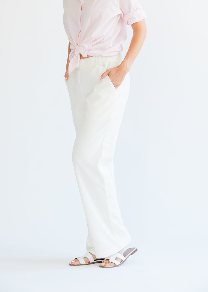 Waverly Wide Leg Pants in Terry Fleece (Off-White) TH
