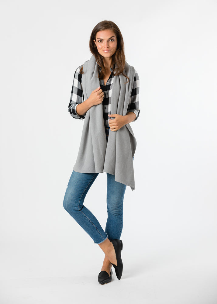 Load image into Gallery viewer, Bedford Blanket Scarf in Terry Fleece (Heather Grey)