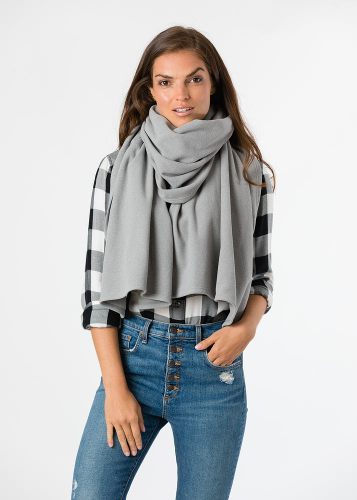 Bedford Blanket Scarf in Terry Fleece (Heather Grey)