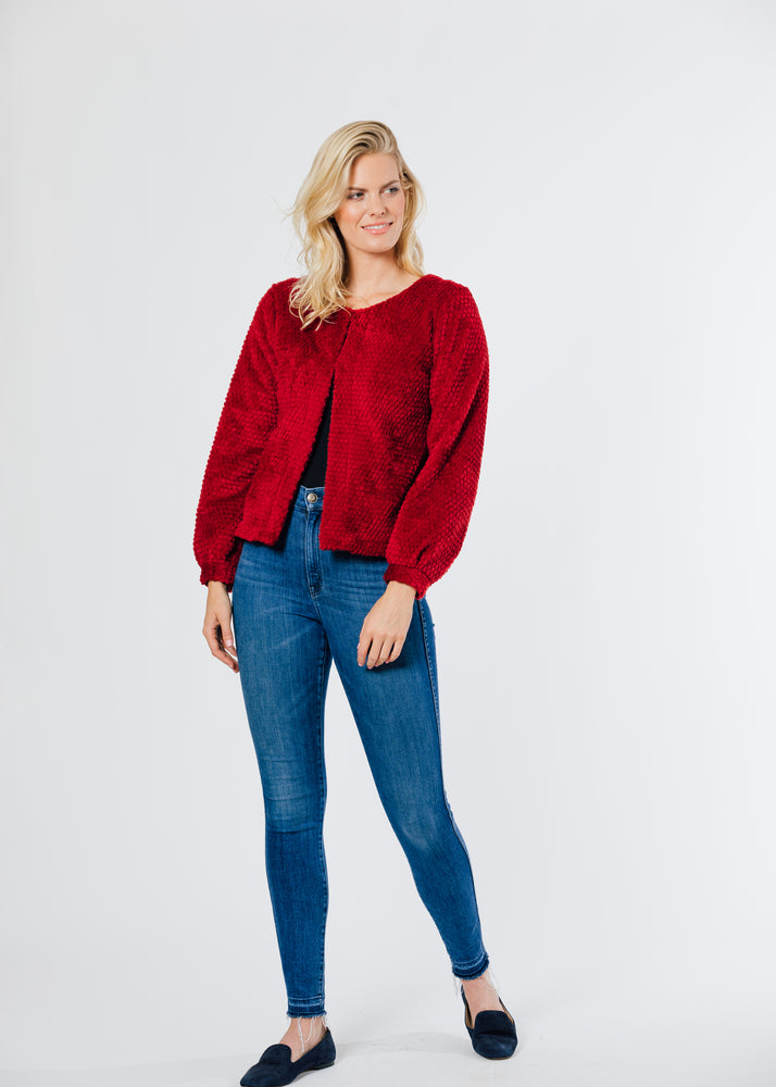 Bijou Bubble Cardigan (Chili Pepper Red)