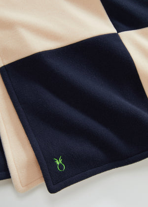 Load image into Gallery viewer, DS Gives Blanket in Vello Fleece (Natural Blush/Navy)