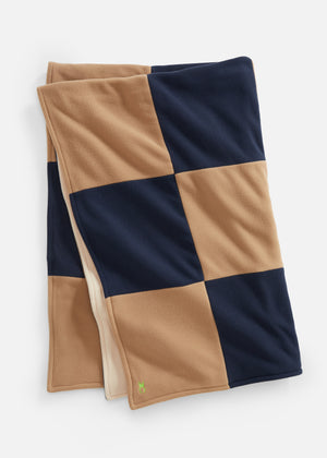 Load image into Gallery viewer, DS Gives Blanket in Vello Fleece (Navy/Camel)