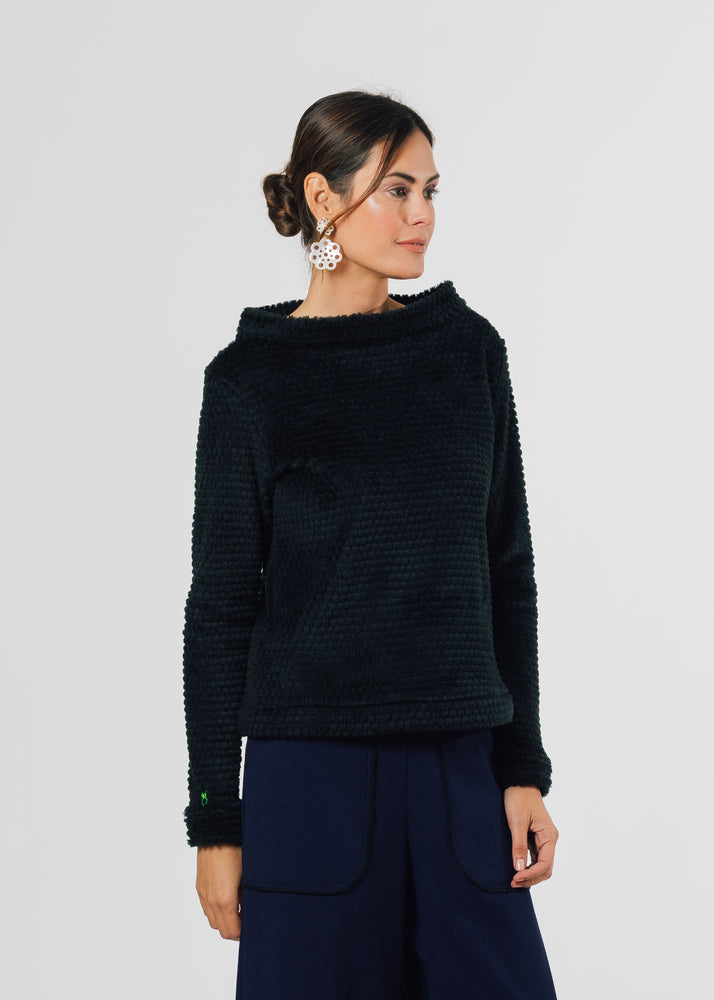Brighton Boatneck Top in Bubble Fleece (Black)