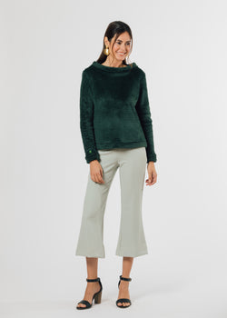 Brighton Boatneck Top in Bubble Fleece (Hunter Green)